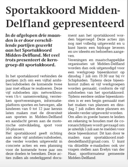 Sportakkoord Midden-Delfland gepresenteerd